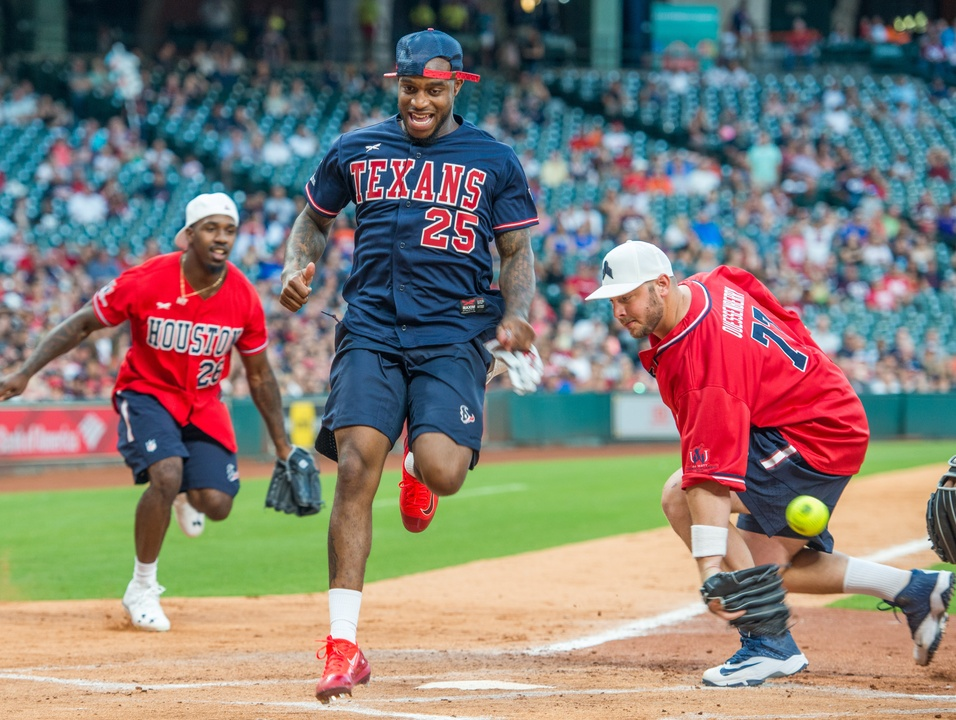 Houston, J.J. Watt Charity Classic, May 2017, Kareem Jackson crossing home plate