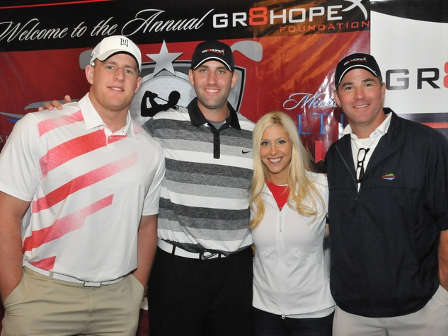 Matt Schaub's foundation dinner April 2013 J.J. Watt, Matt Schaub, Laurie Schaub, Joey Feste