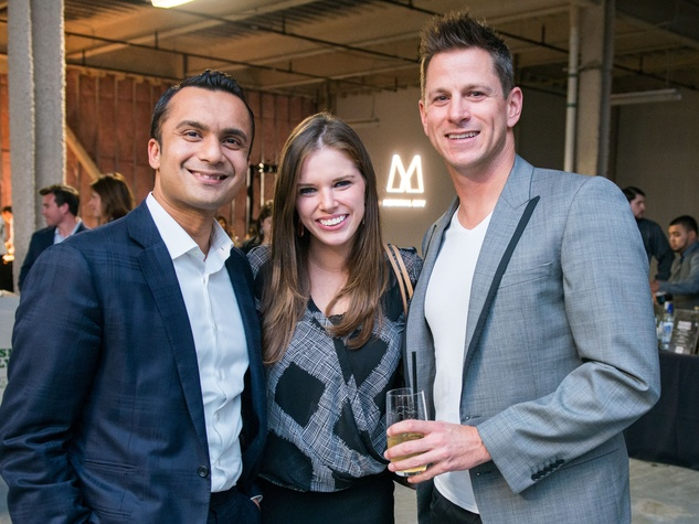 8 Reaz Rasul, from left, Emily Vitek and Joey Minervini at the CultureMap Social at Gateway November 2014