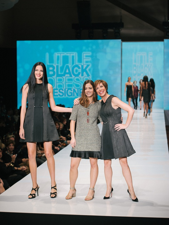 71 Fashion Houston Night 1 November 2014 Little Black Dress designer Andrea Giralt-Brun with Muse Roseann Rogers, mentor Sameera Faridi