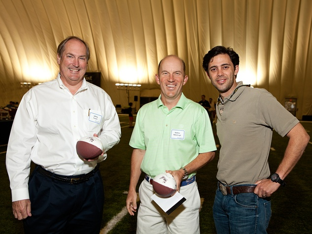 Jeff Foutch, from left, Andrew McCullough and David A. Cockrell at The Society for Leading Medicine Houston Texans Family Field Day May 2014