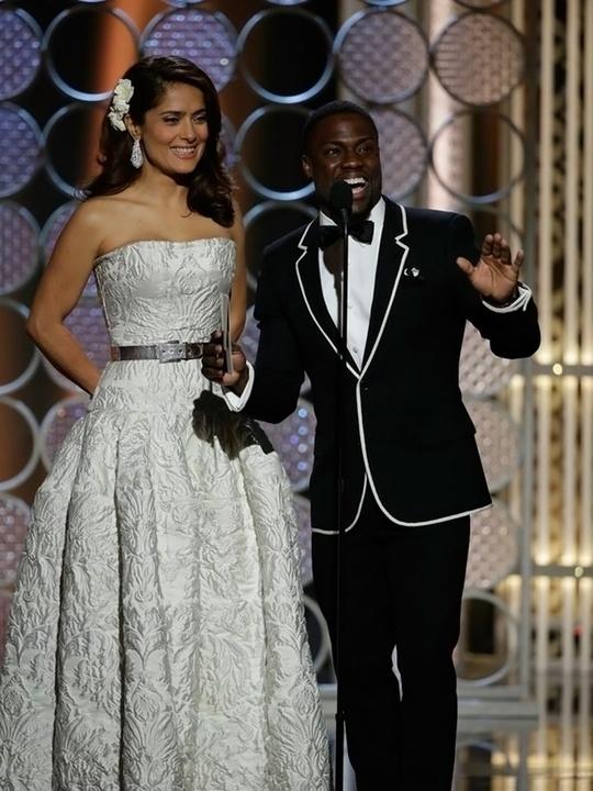 Salma Hayek and Kevin Hart Golden Globes fashion January 2015