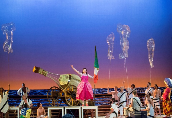 Houston Grand Opera, The Italian Girl in Algiers, October 2012, Daniela Barcellona (Isabella) celebrates her native Italy in in Act II