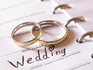 wedding planner, wedding rings, calendar