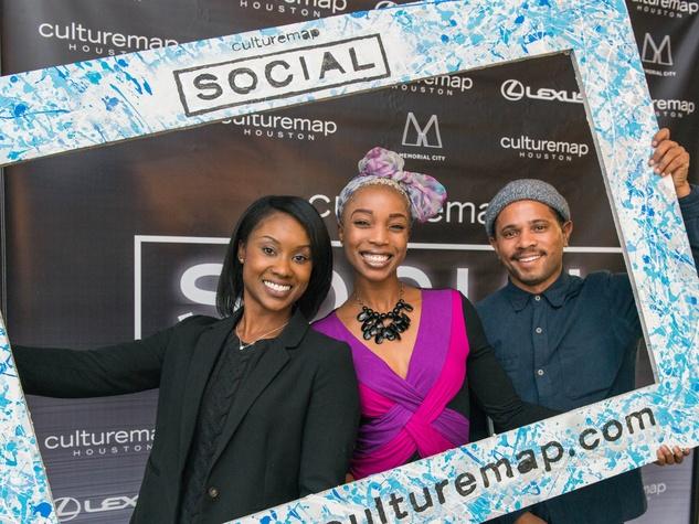 24 Renia Butler, from left, Free Lane and Michael Stevenson at the CultureMap Social at Gateway November 2014