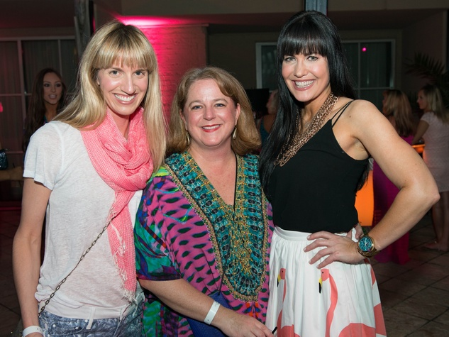 15 Chris Goins, from left, Shelley Ludwick and Tiffany Halik at the Pink Party at Hotel ZaZa July 2014