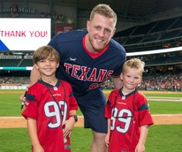 Houston, J.J. Watt Charity Classic, May 2017, JJ Watt and young fans