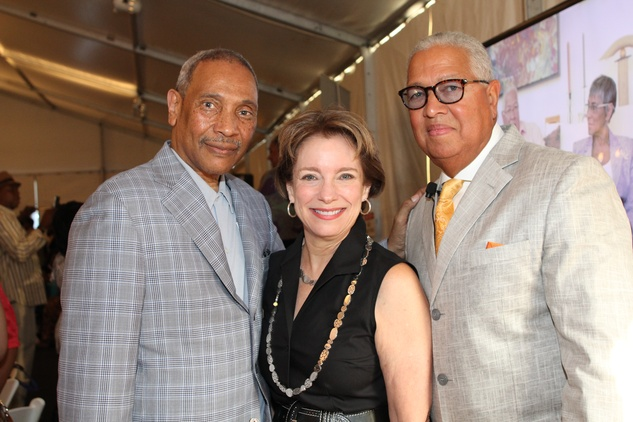 John Guess Jr., from left, Tammie Kahn and Bernard Kinsey at the HMAAC Kinsey Collection reception August 2014