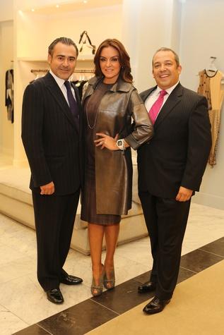 Rafael Chavez, from left, Carmina Zamorano and Trey Velasco at the CancerForward Key To The Cure Kick-off October 2014