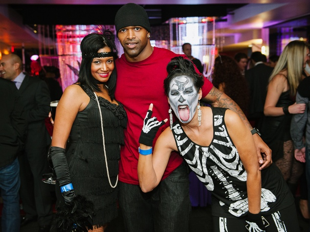 19 Monique Hobbs, from left, Ben Patterson and Lisa Rogers at the CultureMap Halloween party at Mr. Peeples October 2013