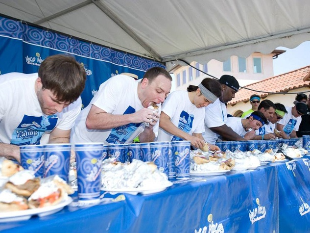 Houston Greek Festival Niko Niko's gyro eating contest May 2013 eating