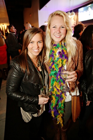 11 Brittany Taylor, left, and Sarah Wheeler at Gray's Public House Mardi Gras grand opening benefiting Urban Green February 2015