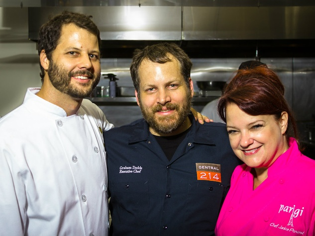 Chad Houser, Graham Dodds and Janice Provost at Cafe Momentum dinner at Central 214