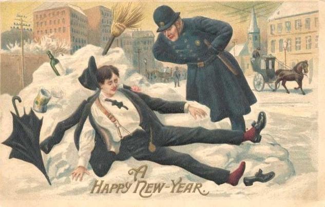 New Years Postcard Drinking Drunk