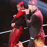 Justin Timberlake at MTV Music Video Awards August 2013 Cesar Galindo's red costumes for backup dancers