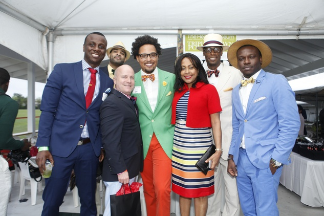 7 Ben Toure, from left, Stephen Mosby, Scott Boyd, Bronson Elliott Woods, Suzani Grant, Dexter W. Johnson and Olu Lawson at the Health Museum's Polo benefit April 2014