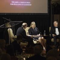 News, Baker Institute dinner, April 2015, James Baker, L.E. Simmons, Ginny Simmons,Ed Djerejian,