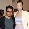 Amir Taghi and model backstage at New York runway show