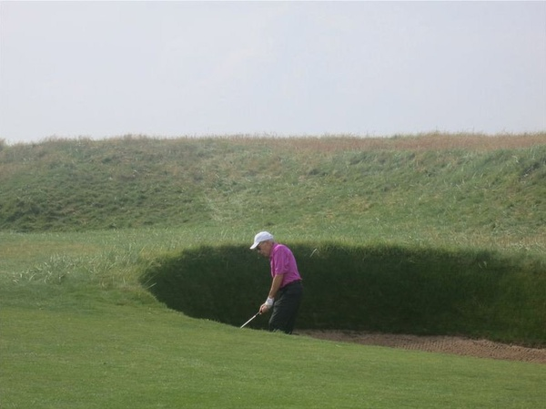 Jane Howze, golf cruise vacation, August 2012, One of the many bunkers at Carnoustie