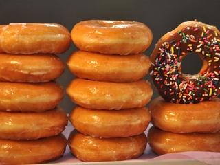 Krispy Kreme doughnuts stacked glazed