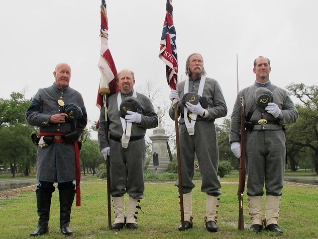 News_Katie_Dick Dowling Statute_cleaning_March 2012_John Bell Hood Color Guard of Galveston