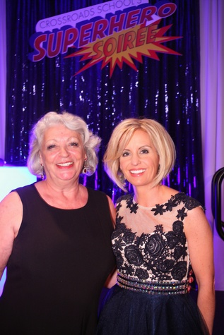"Gila Arnoni, left, and Amy Davis at Crossroads School's ""Superhero Soiree"" Gala February 2015"