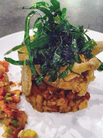 Dish Society Lockhart TX fried quail with Atkinson Farms crisp collards, Gundermann Acres sweet potato hash and roasted corn relish