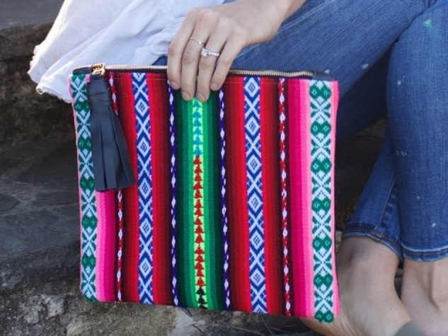 Sarah Sharp clutch of Peruvian fabric