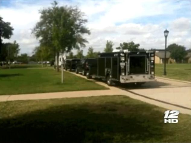 Biohazard chemicals Austin College home raids Cecily Horton Schneck