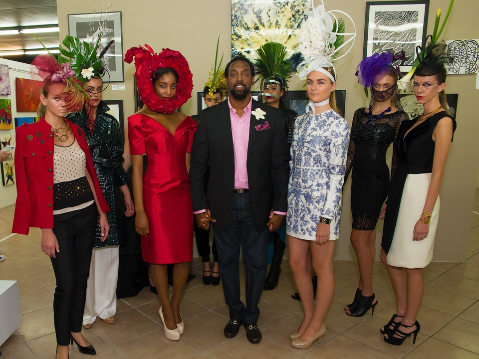 Dwight Woodbury floral hats designer with models October 2013