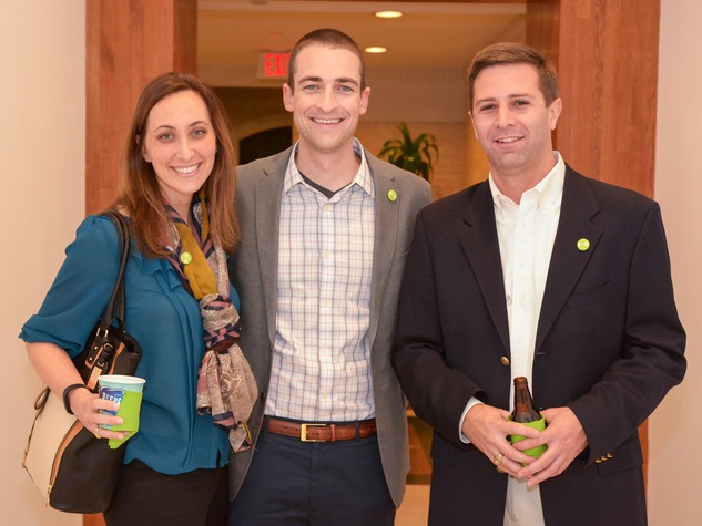 20 Laura Menges, from left, Dave Morris and Ryan Price at Preservation Houston's Pier & Beam #ThrowbackThursday Party November 2014