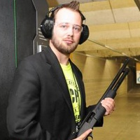Kyle Coplen Armed Citizen Project with gun in shooting range