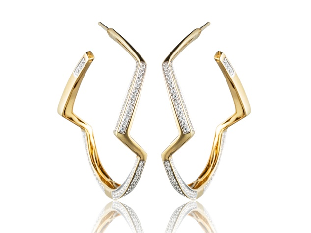 Michael where to shop right now October 2013 Kara Ross - gold and white diamond countour hoop earrings