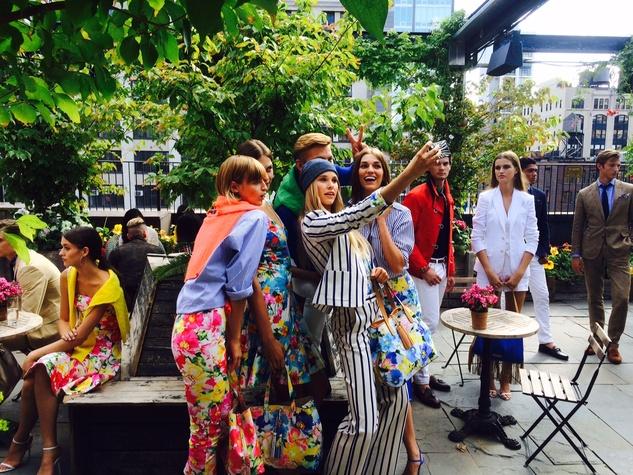 Polo Ralph Lauren models take self at spring 2016 presentation at New York Fashion Week