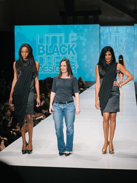 70 Fashion Houston Night 1 November 2014 Little Black Dress designer Claire Ferran with Muse Ursaline Hamilton, mentor Chloe Dao