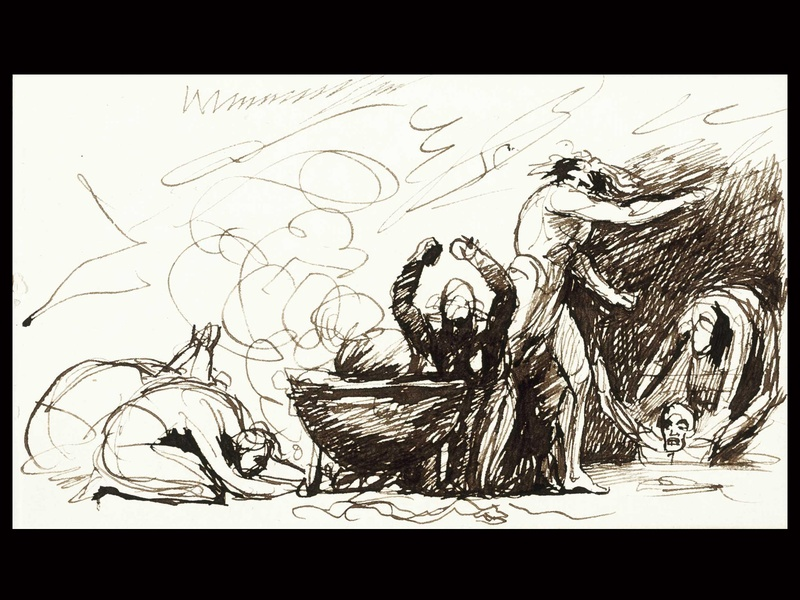 Visions of Fancy, MFAH, Rienzi, September 2012, Romney - Sketchbook, Leaf with Figures, BLACK SPACE