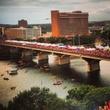 crowd on Congress Avenue Bridge for Austin Best Fest 2012