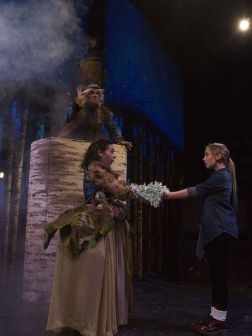Paul T. Taylor (top), Marti Etheridge, and Sara Grace Prejean in Theatre Three's Solstice