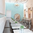 Sweet Paris, crepes, French industrial, chandelier