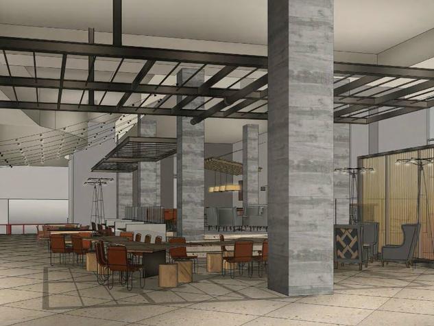 Hilton Austin downtown hotel 2016 renovation rendering lobby living room