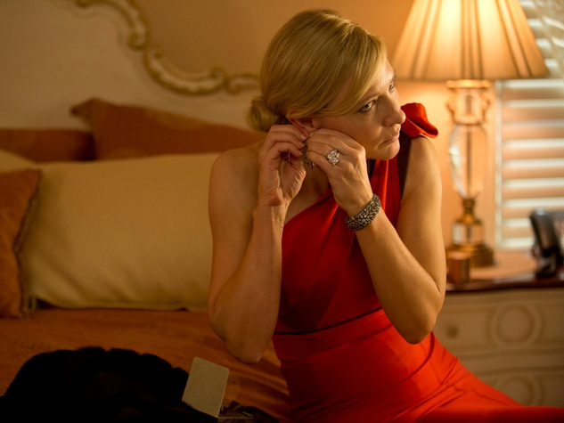 Cate Blanchette in red dress in Blue Jasmine