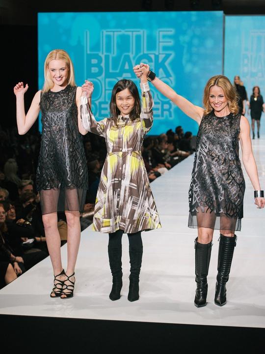 76 Fashion Houston Night 1 November 2014 Little Black Dress designer Gabby Ong with muse Lucinda Loya, mentor Viet Nguyen