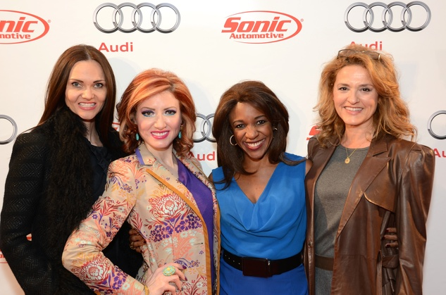 Gabriela Dror, from left, Yasmine Haddad, Jacquie Baly and Sandi Ramirez at the Audi Central Houston grand opening March 20