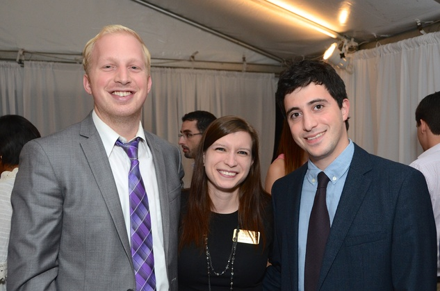 Trevor and Maria Sharon, from left, with Mark Wulfe at the Rienzi Punch Party October 2014