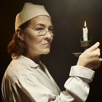 Sally Nystuen Vahle as Ebenezer Scrooge in A Christmas Carol