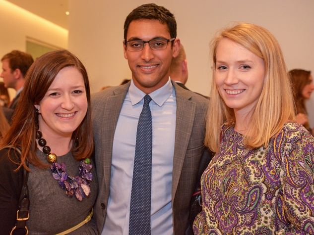 14 Jackie Lynch, from left, Neal Sarkar and Abby Noebels at Preservation Houston's Pier & Beam #ThrowbackThursday Party November 2014