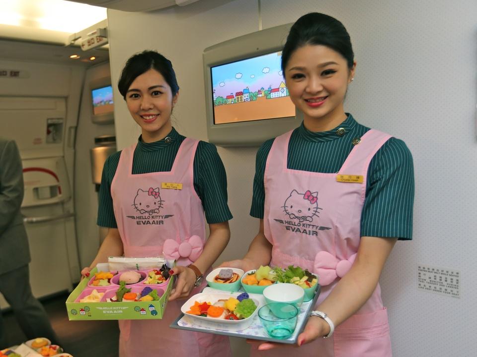 EVA Air Hello Kitty jet stewardesses