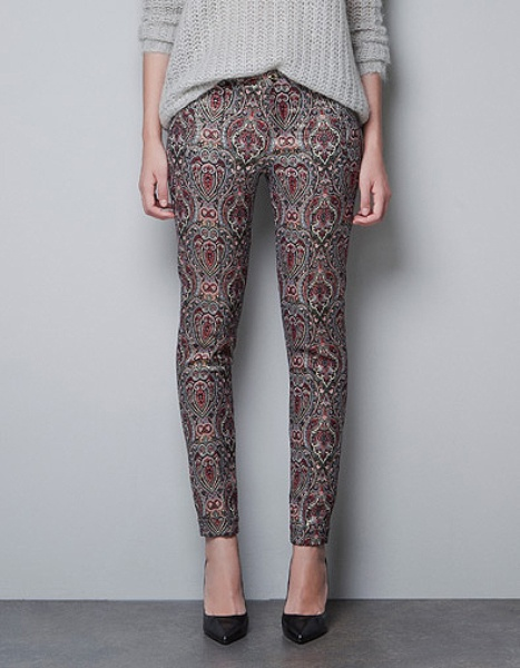 Zara Metallic Jacquard Trousers