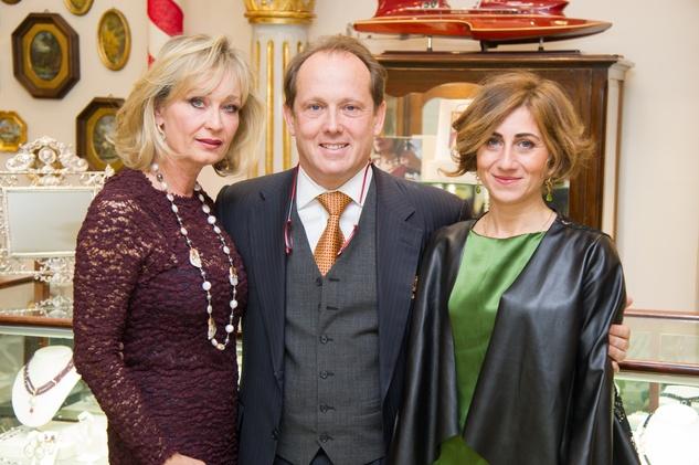 10 Cathy Borlenghi, from left, Franco Valobra and Antonella Aquilino at the Mrs. B Jewelry Launch at Valobra November 2013