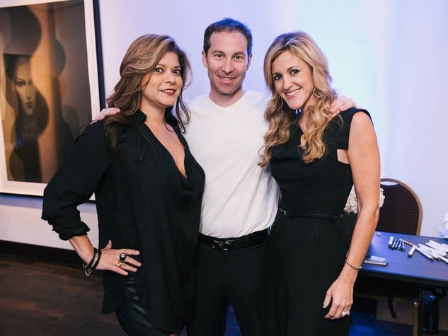 2 Marcy De Luna, from left, with Eric Hass and Courtney Zubowski Haas at CultureMap fifth anniversary birthday party October 2014